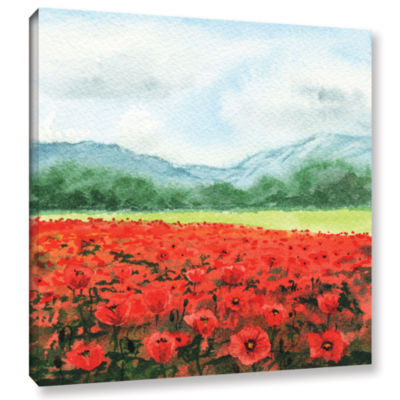 Brushstone Landscape With Poppies Gallery WrappedCanvas Wall Art