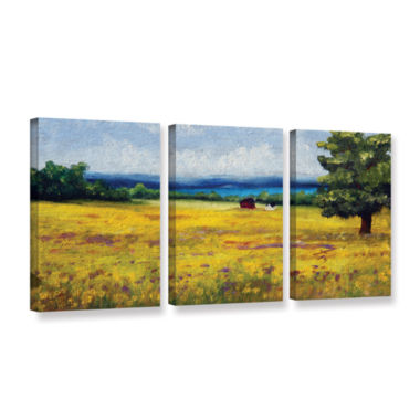 Brushstone Lake Side Mustard Field 3-pc. Gallery Wrapped Canvas Wall Art