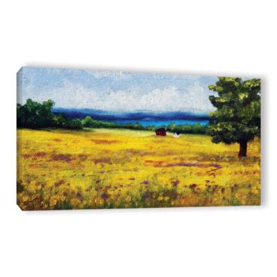 Brushstone Lake Side Mustard Field Gallery WrappedCanvas Wall Art