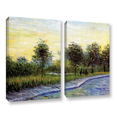 Brushstone Lane In Voyer D'Argensom Park At Asnieres 2-pc. Gallery Wrapped Canvas Wall Art