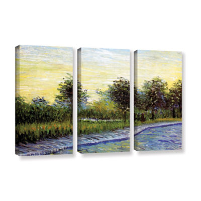 Brushstone Lane In Voyer D'Argensom Park At Asnieres 3-pc. Gallery Wrapped Canvas Wall Art
