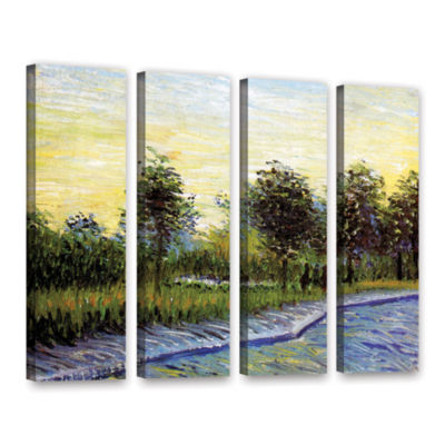 Brushstone Lane In Voyer D'Argensom Park At Asnieres 4-pc. Gallery Wrapped Canvas Wall Art