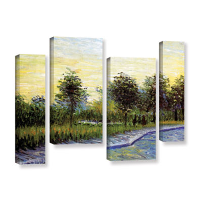 Brushstone Lane In Voyer D'Argensom Park At Asnieres 4-pc. Gallery Wrapped Staggered Canvas Wall Art