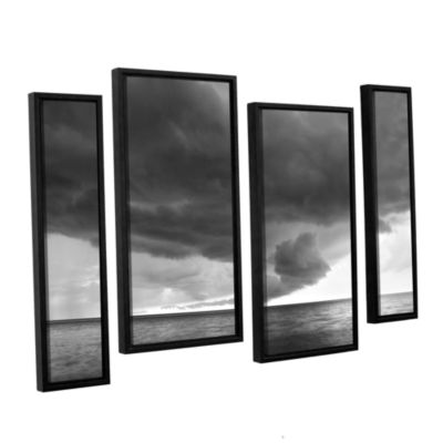 Brushstone Lake Erie Storm 4-pc. Floater Framed Canvas Staggered Set