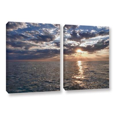 Brushstone Lake Erie Sunset I 2-pc. Gallery Wrapped Canvas Set