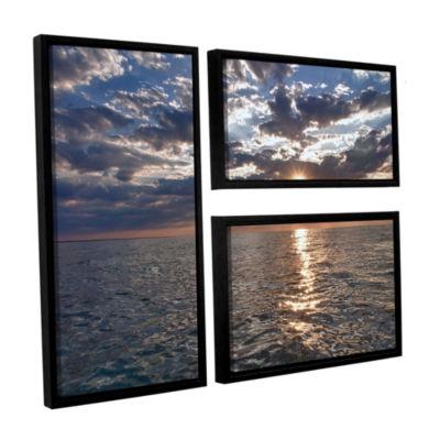 Brushstone Lake Erie Sunset I 3-pc. Floater FramedCanvas Flag Set
