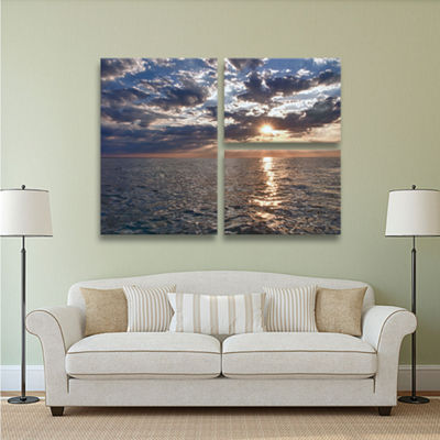 Brushstone Lake Erie Sunset I 3-pc. Gallery Wrapped Canvas Flag Set