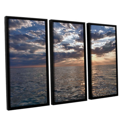 Brushstone Lake Erie Sunset I 3-pc. Floater FramedCanvas Set