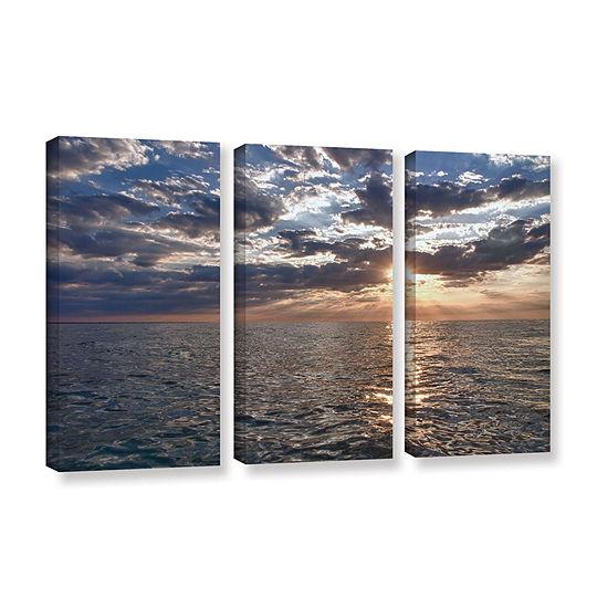 Brushstone Lake Erie Sunset I 3-pc. Gallery Wrapped Canvas Set