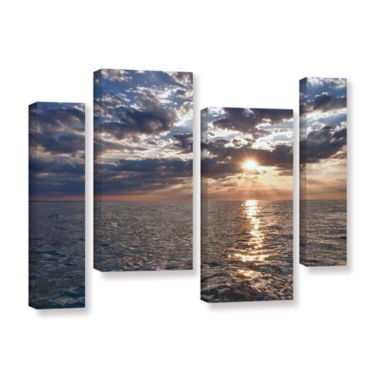 Brushstone Lake Erie Sunset I 4-pc. Gallery Wrapped Canvas Staggered Set