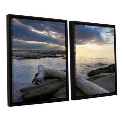 Brushstone Lake Erie Sunset II 2-pc. Floater Framed Canvas Set