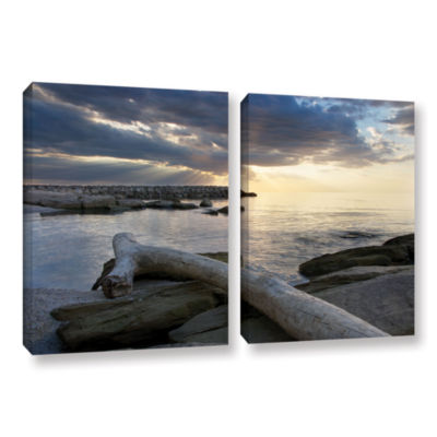 Brushstone Lake Erie Sunset II 2-pc. Gallery Wrapped Canvas Wall Art