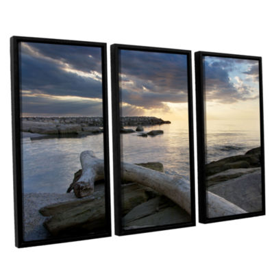 Brushstone Lake Erie Sunset II 3-pc. Floater Framed Canvas Set