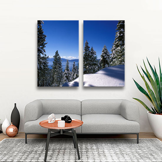 Brushstone Lake Tahoe In Winter 2-pc. Gallery Wrapped Canvas Wall Art