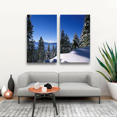 Brushstone Lake Tahoe in Winter 2-pc. Gallery Wrapped Canvas Set