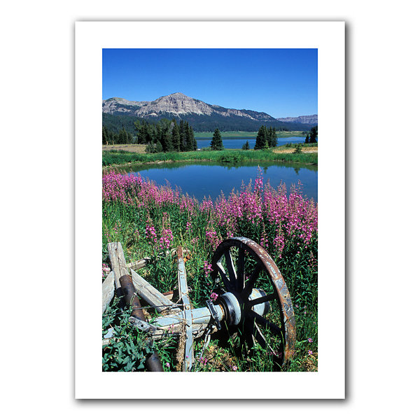 Brushstone Old Wheel And Brooks Lake Canvas Wall Art