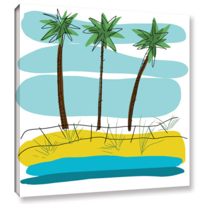 Brushstone Day Palms Ii Gallery Wrapped Canvas Wall Art