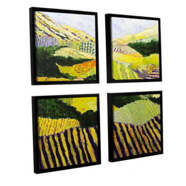 Brushstone Delta Fields 4-pc. Square Floater Framed Canvas Wall Art
