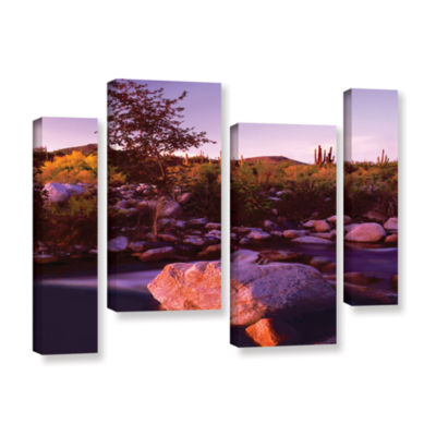 Brushstone Deer Creek Evening 4-pc. Gallery Wrapped Staggered Canvas Wall Art