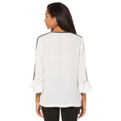 Rafaella 3/4 Sleeve Split Crew Neck Woven Blouse