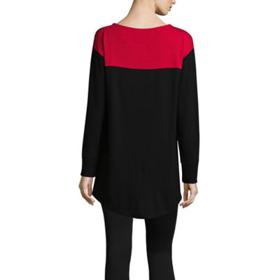 Liz Claiborne Long Sleeve Colorblock Top