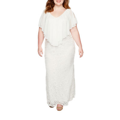 Blu Sage Stretch Lace Gown with Chiffon Popover - Plus