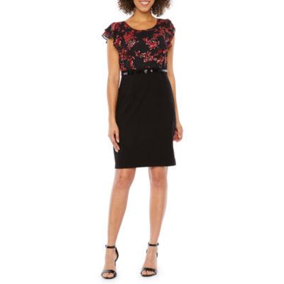 Alyx Short Sleeve Foil Floral Sheath Dress