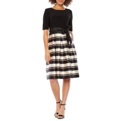 R & K Originals Short Sleeve Striped Party Dress