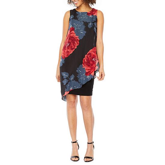 S. L. Fashions Sleeveless Floral Midi Sheath Dress