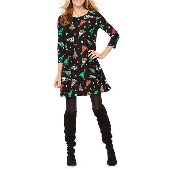 27a0257bae13b St. John's Bay 3/4 Sleeve Holiday Swing Dresses