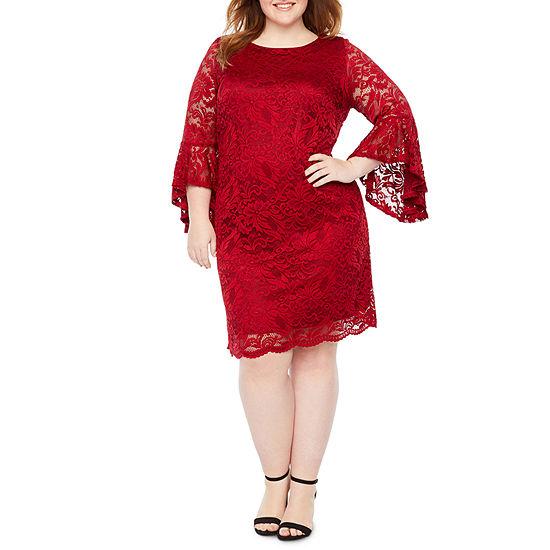 Liz Claiborne 3/4 Sleeve Floral Lace Dress - Plus