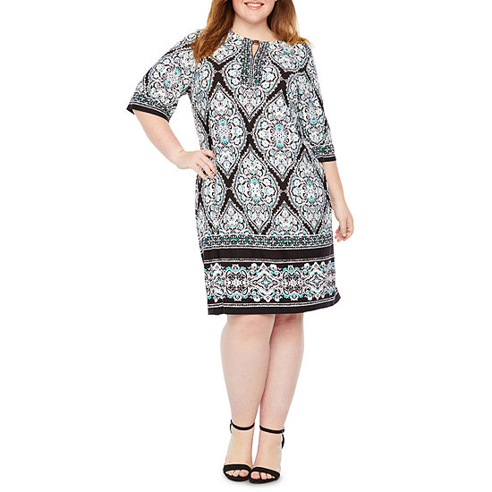 Studio 1 3/4 Sleeve Medallion Shift Dress-Plus