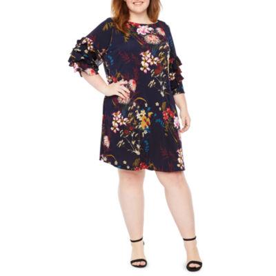 Danny & Nicole Long Sleeve Floral Shift Dress - Plus