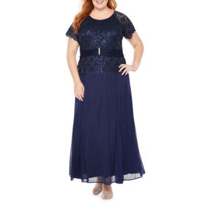Blu Sage Short Sleeve Embellished Top Gown - Plus