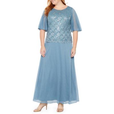 Blu Sage Chiffon Sleeve Gown - Plus