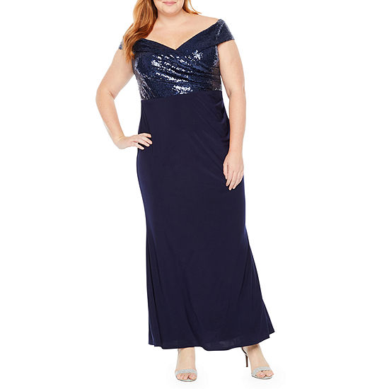 f44ce02b71b Blu Sage Off The Shoulder Sequin Top Gown - Plus - JCPenney