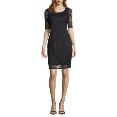 Ronni Nicole Short Sleeve Floral Sheath Dress-Petite