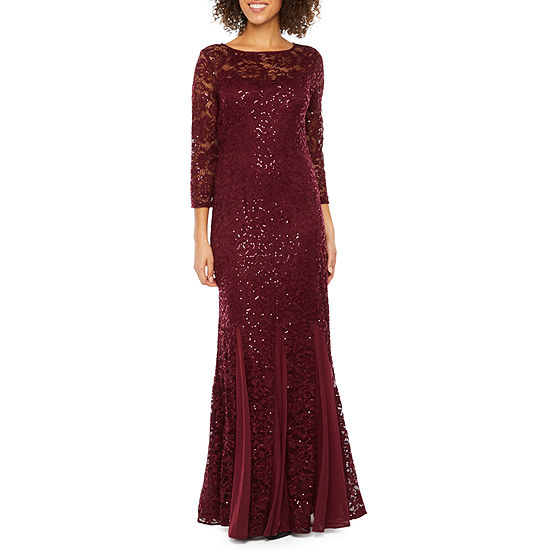 Onyx Nites 3/4 Sleeve Sequin Lace Evening Gown