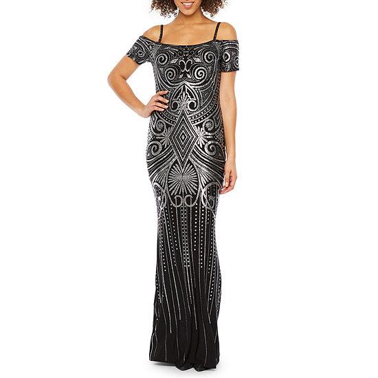 Blu Sage Short Sleeve Cold Shoulder Glitter Knit Evening Gown
