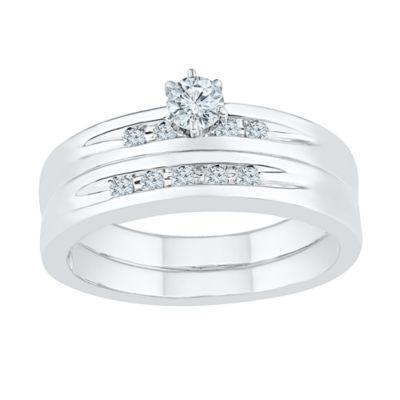 Womens 1/4 CT. T.W. Genuine White Diamond Round Bridal Set