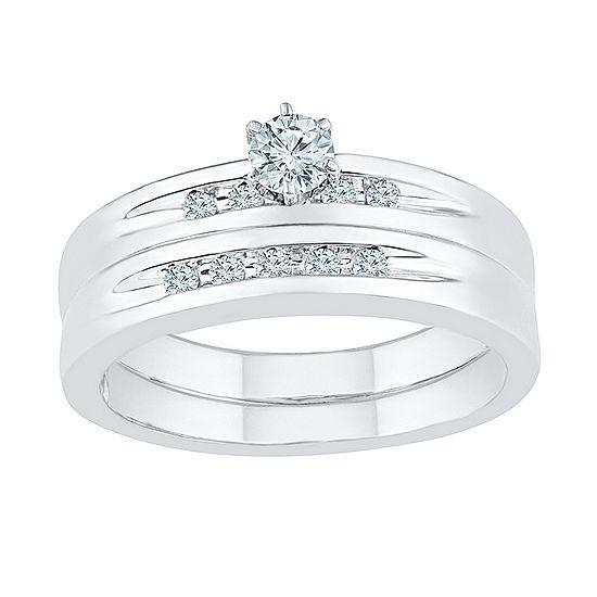 Womens 1/4 CT. T.W. Genuine White Diamond Sterling Silver Round Bridal Set