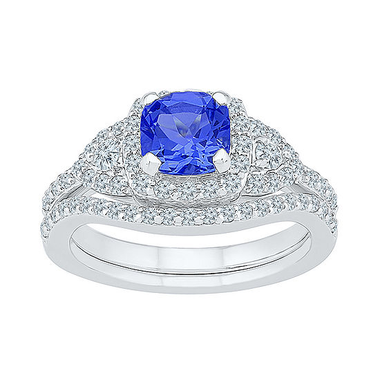 Modern Bride Gemstone Womens Blue & White Lab Created Sapphire Sterling Silver Bridal Set