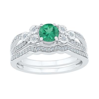 Modern Bride Gemstone Lab Created Emerald & 1/5 CT. T.W. Diamond Sterling Silver Bridal Set