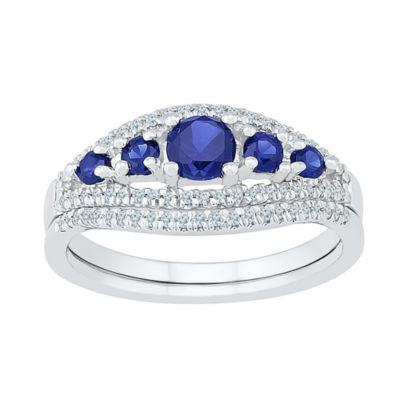Modern Bride Gemstone Lab Created Sapphire & 1/4 CT. T.W. Diamond Sterling Silver Bridal Set