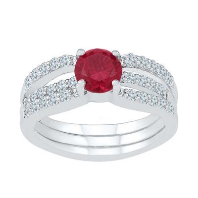 Modern Bride Gemstone Lab Created Ruby & Lab Created Sapphire Sterling Silver Bridal Set