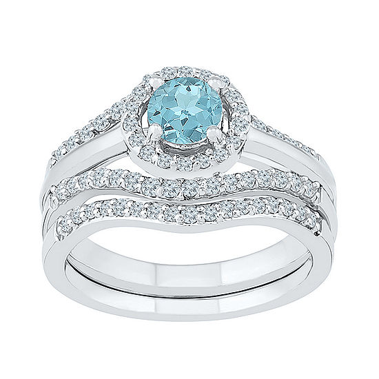 Modern Bride Gemstone Genuine Aquamarine & 1/2 CT. T.W Diamond Sterling Silver Bridal Set