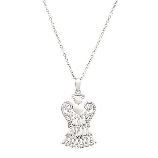 Diamonart Cubic Zirconia Sterling Silver Angel Pendant Necklace