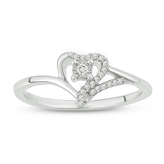 Womens 1/10 CT. T.W. White Diamond Sterling Silver Heart Engagement Ring