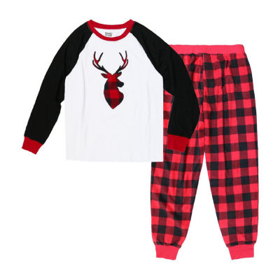 Holiday Famjams Red Black Buffalo Deer 2 Piece Pajama Set -Men's