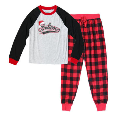 Holiday #FAMJAMS Red Black Buffalo Believe 2 Piece Pajama Set -Men's
